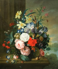 still life of flowers on a marble ledge by james (sillet) sillett