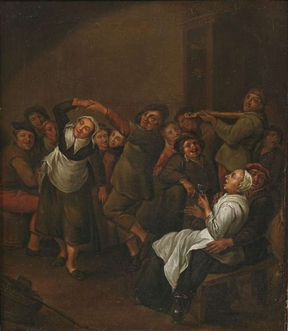 bauernszenen im wirtshaus (pair) by egbert van heemskerck the elder