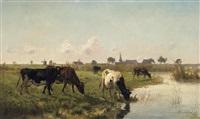 holländische weidelandschaft. hinter dem dorf eine kuhherde am wasser by otto van myer