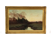 sunrise, spring landscape with stream by william merritt post