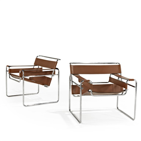 wassily lounge chairs pair by ludwig mies van der rohe