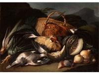 grosses stilleben mit zwei lebendigen hühnern zwischen früchten und erlegtem federvieh by flemish school (17)