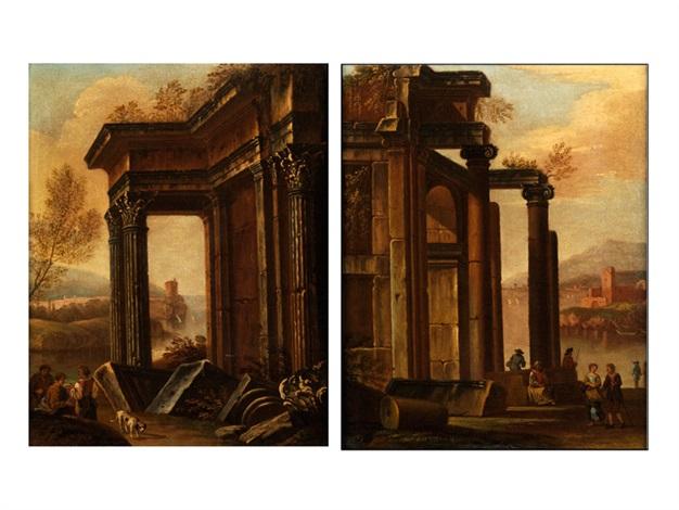 römische ruinencapricci mit figurenstaffage pair by giovanni paolo panini