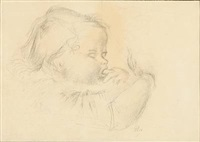 marianne as a child (+ portrait of a woman, smaller; 2 works) by georg jacobsen