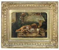still life study of dead game on a scullery table by george hickin