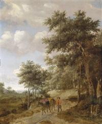 ein bauer mit mauleseln auf einem waldweg by jan van kessel
