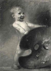 kleiner knabe mit der palette des malers (aktporträt) by elimar ulrich bruno piglhein