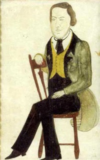 miniature portrait of bearded man in yellow vest and green jacket seated in red arrowback side chair by jane anthony davis