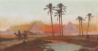ägypter mit kamelen vor den pyramiden von gizeh by tony binder
