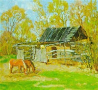 chestnut horses grasing by stanislav fomenok