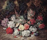 arrangierte frühlingsblumen auf waldboden mit vogelnest by horace mann livens