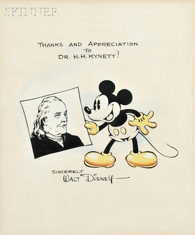 mickey mouse and ben franklin with walt disney letter by walt disney