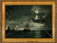 marine with salvage operation in moonlight by peder nielsen foss
