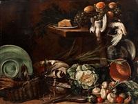 grosses küchenstilleben mit gemüse, geschirr, korb, totem geflügel und trauben by giuseppe recco