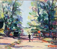 view from ddyrehaven with horse-drawn carriage by ib eisner
