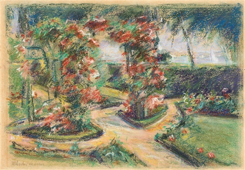 der rosengarten in wannsee study for painting by max liebermann
