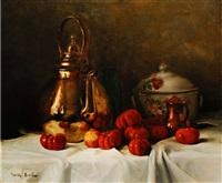 stillleben mit kupferkessel und tomaten by franck antoine bail