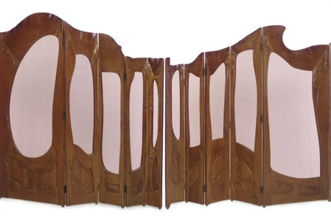 folding screen from casa milà in 2 parts by antoni gaudí