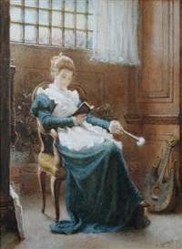 a young girl reading and holding a fan by charles gogin