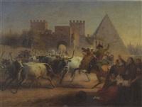 stierherde vor s. paolo und cestius - pyramide in rom by dietrich wilhelm lindau