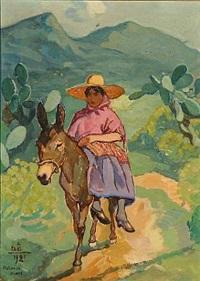 woman riding a donkey by acke aslund