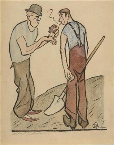 die pause (illustr. for simplicissimus) by karl august arnold