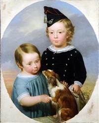 portrait d'enfants, au chien (+ portrait de femme; 2 works) by alexis bafcop