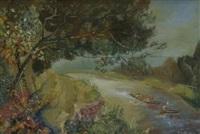 flußlandschaft mit ruderbooten by walter lindgens