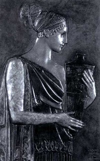 classical figure holding an urn by edward field sanford the younger