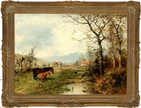 autumn landscape with horses near a village by ludwig benno fay and karl schultze