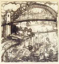 the sydney harbor bridge from luna park, with the opera house beyond by brett whiteley