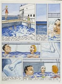 très belle planche originale aux couleurs chaudes publiée dans l'album cœurs de sable by jacques de loustal