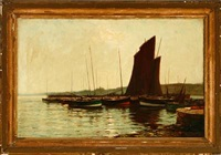 a harbour scene with several fishing dinghies on a calm afternoon by james campbell noble