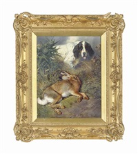 hare and a setter in a landscape by william woodhouse