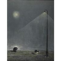 a dog beneath a street lamp by francisco garcia abuja