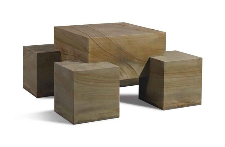 seat-leg table (in 5 parts) by scott burton