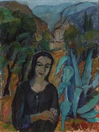 young woman in southeuropean llandscape by elsa selander