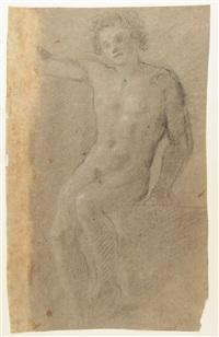 nudo maschile seduto e nudo maschile in piedi (2 works) by francesco (cecco bravo) montelatici