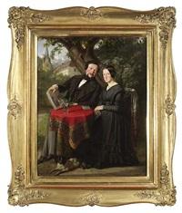 schwarzgekleidetes paar mit hund, im garten unter einem baum sitzend by franz eybl
