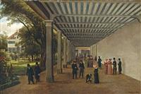 dr. struwes trinkhalle in teplitz-schönau mit kurgästen in der wandelhalle by karl gottfried traugott faber