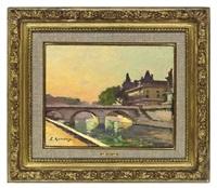 le pont st. michel, paris by jules ernest renoux