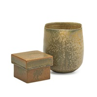 vase and lidded box (2 boxes) by laura andreson