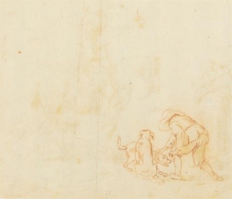 huntsmen with hounds and man with two dogs recto verso by philips wouwerman