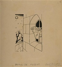 doralise flieht (illustr. for simplicissimus) by karl august arnold