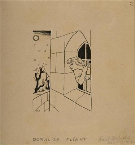 doralise flieht (illustr. for simplicissimus) by karl august arnold