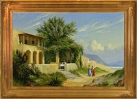 italian landscape with two young women walking in the sunshine by f. brinicardi