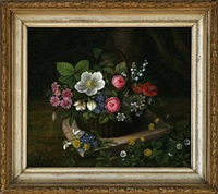 flowers in a basket by ida marie margrethe heerfordt