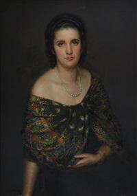 ritratto di dama con collana di perle by giuseppe sobrile