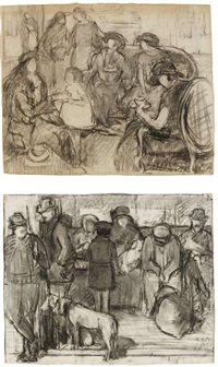 zwei zeichnungen: im cafe; der wartesaal (pair) by lucien aubert