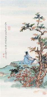 坐茂树以终日 镜心 设色纸本 (painted in 2014 figure) by ren zhong